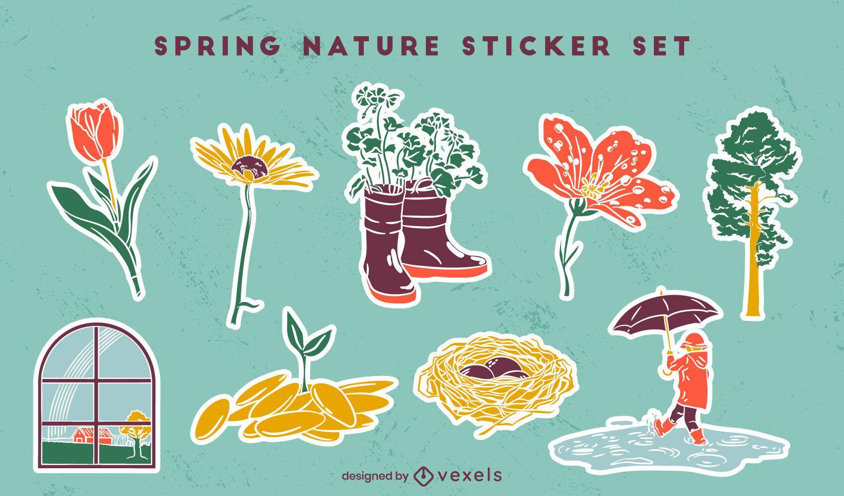 Spring season nature sticker set