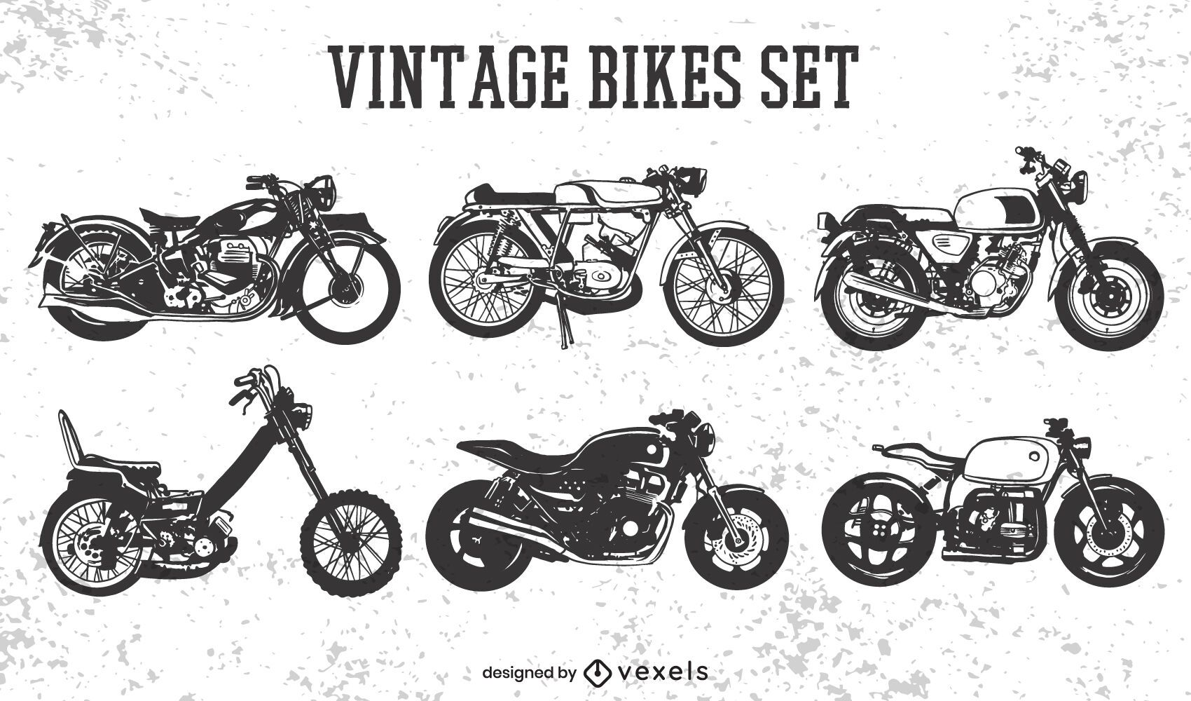 Conjunto de transporte de motocicleta vintage