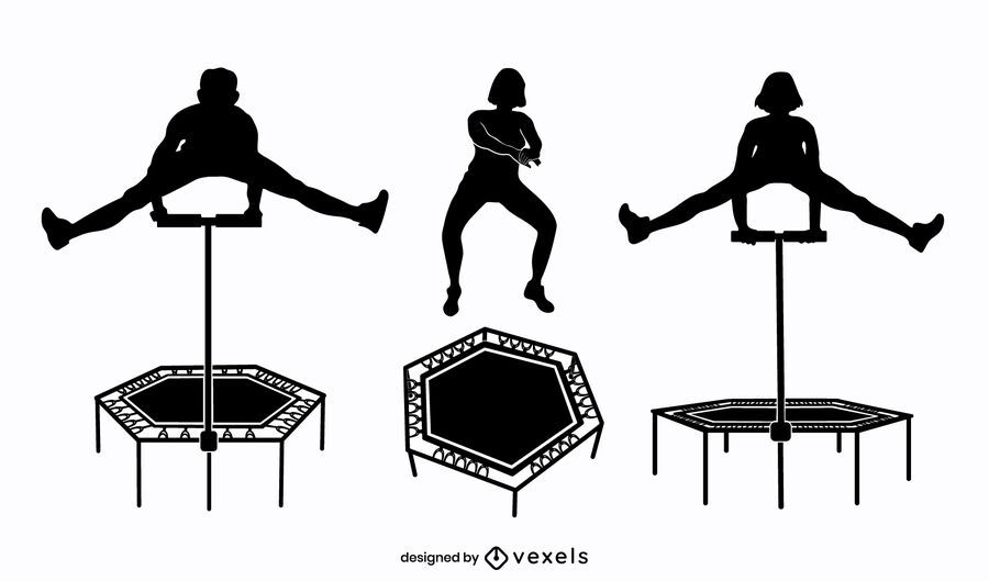 People trampoline jump silhouette set