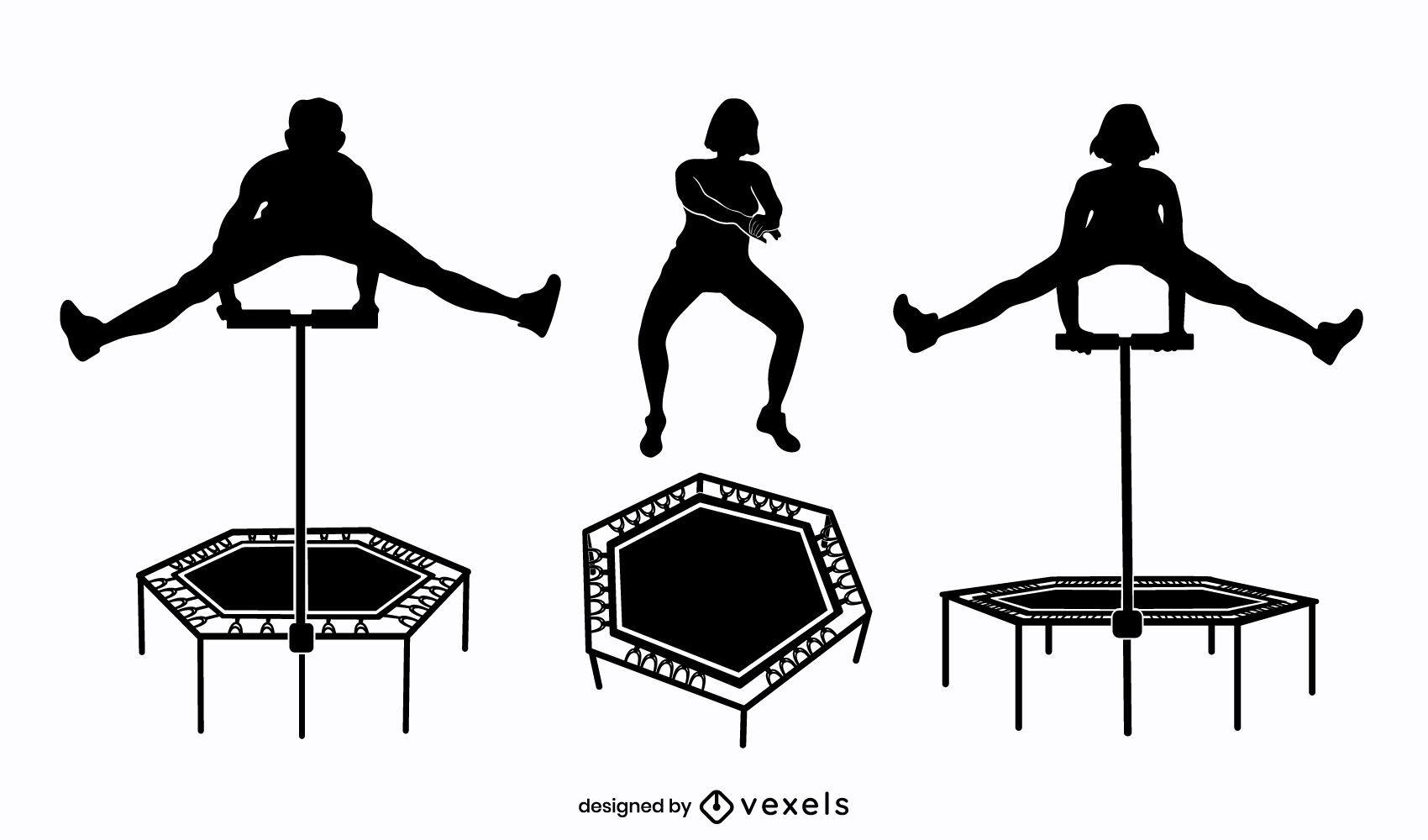 Conjunto de silueta de salto de trampolín de personas