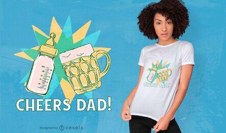 Diseño de camiseta de cerveza y botella de saludos.