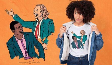 Hombres en trajes riendo diseño de camiseta.