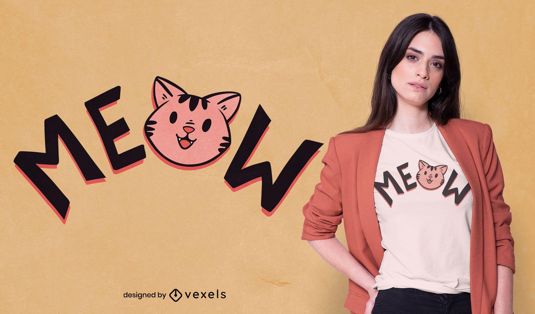 Desenho de camiseta fofa com cara de gatinho miau