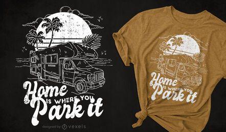 Design de t-shirt desenhada à mão para autocaravana