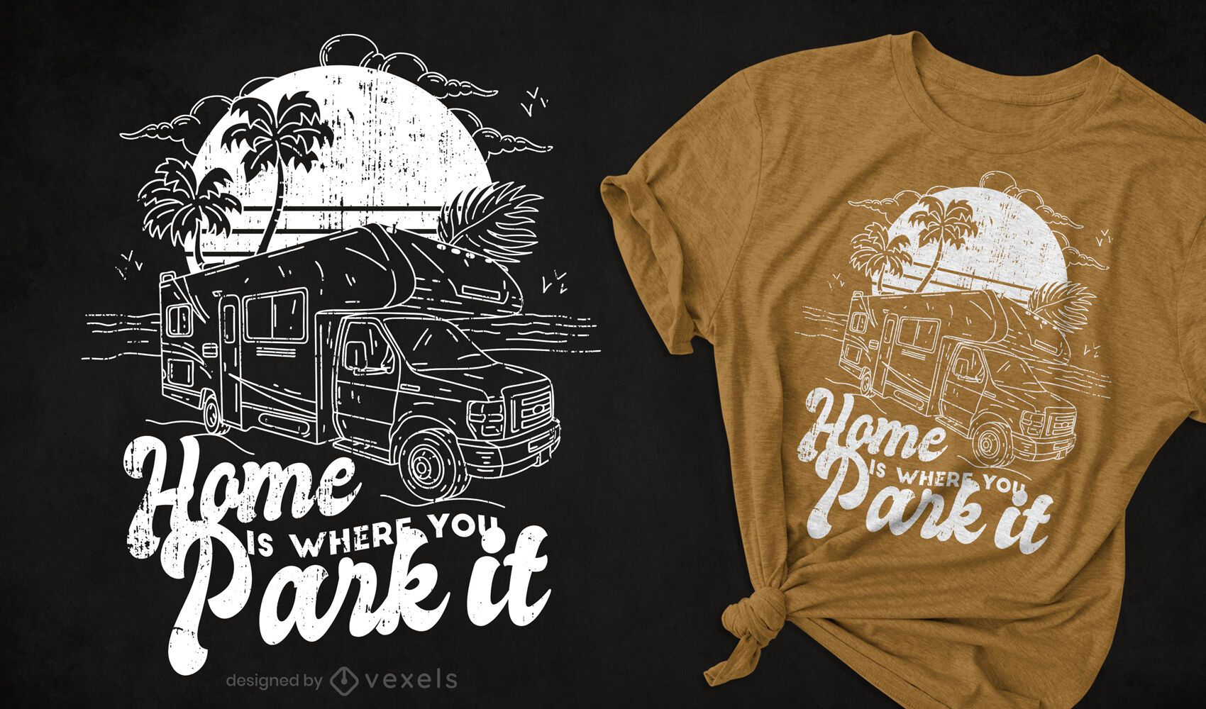 Camper van hand drawn t-shirt design