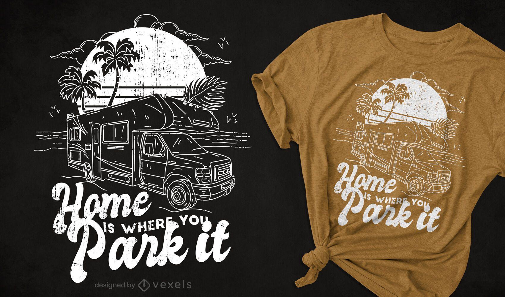 Diseño de camiseta dibujada a mano de autocaravana.