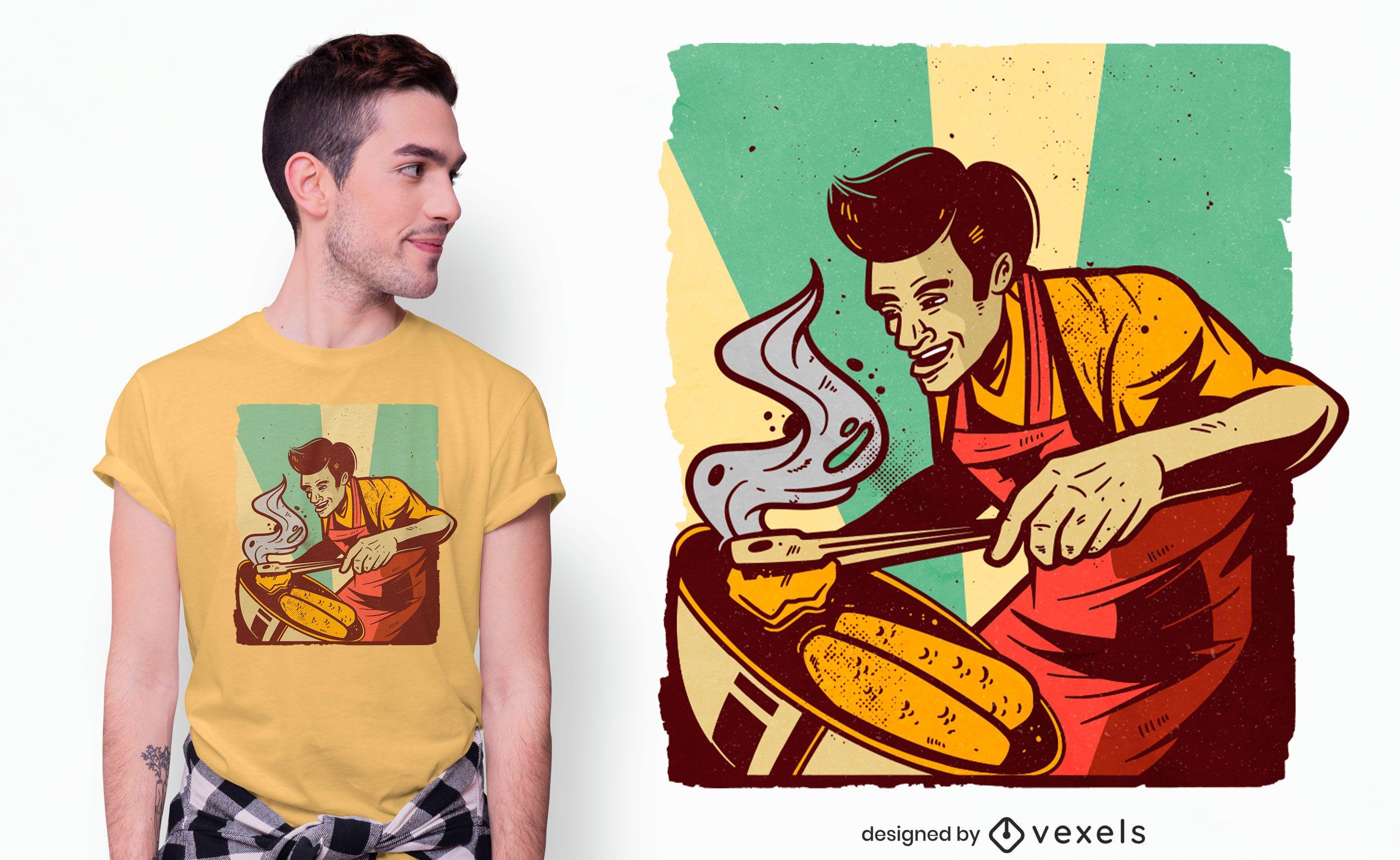 BBQ barbecue dad retro t-shirt design