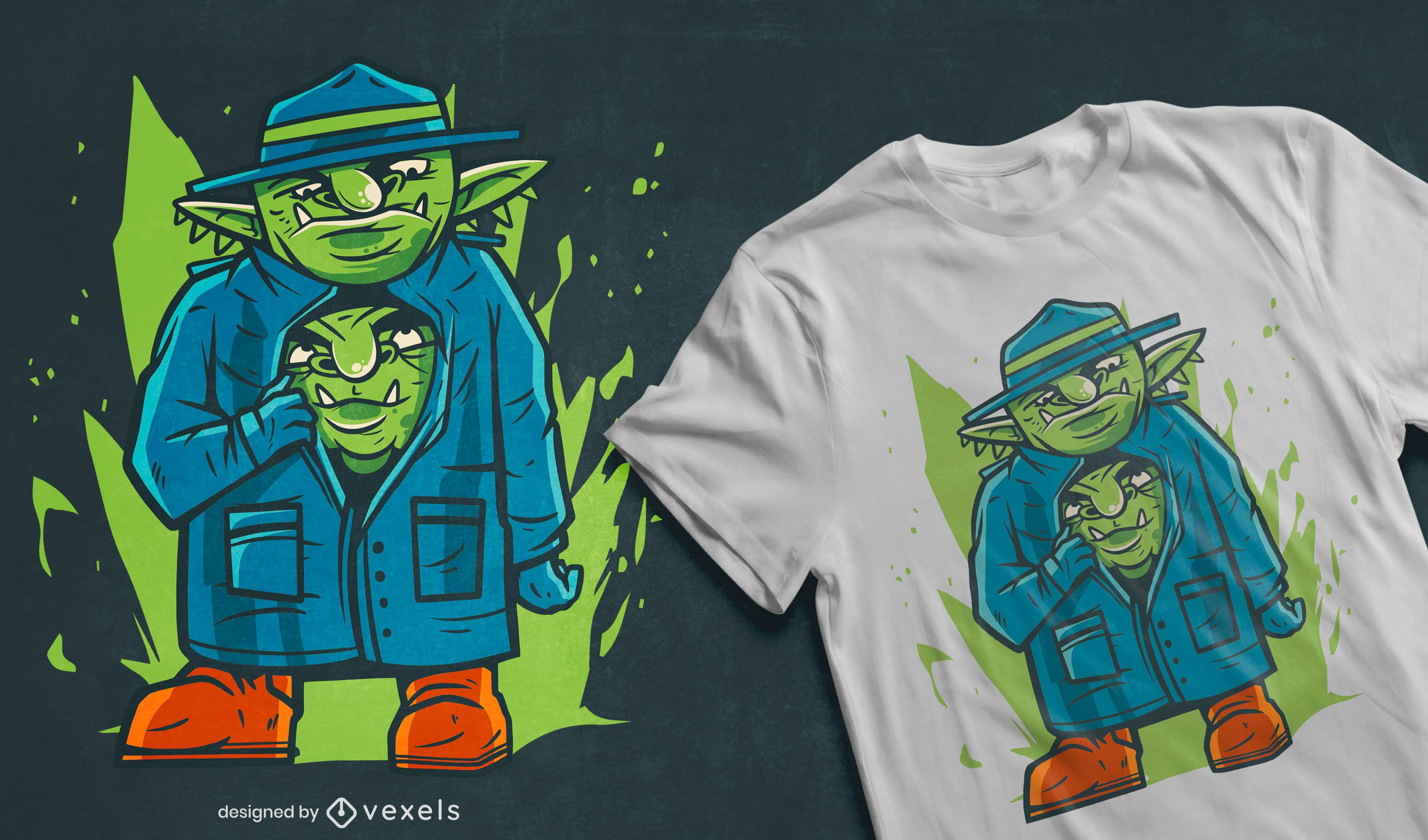 Goblins in a trench coat t-shirt design