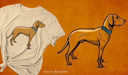 Diseño de camiseta de raza de perro de caza.