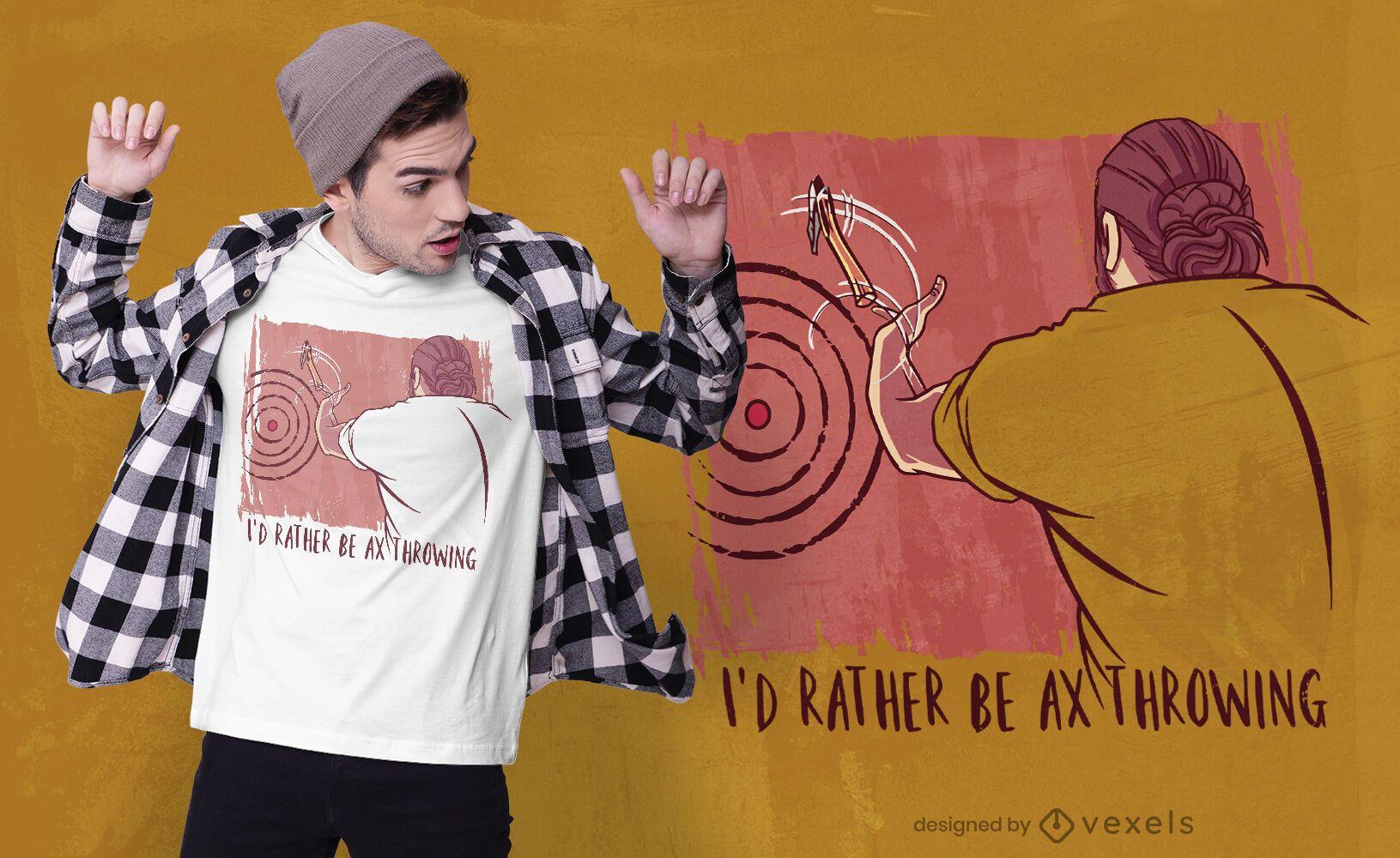 Diseño de camiseta de cita de lanzamiento de hacha