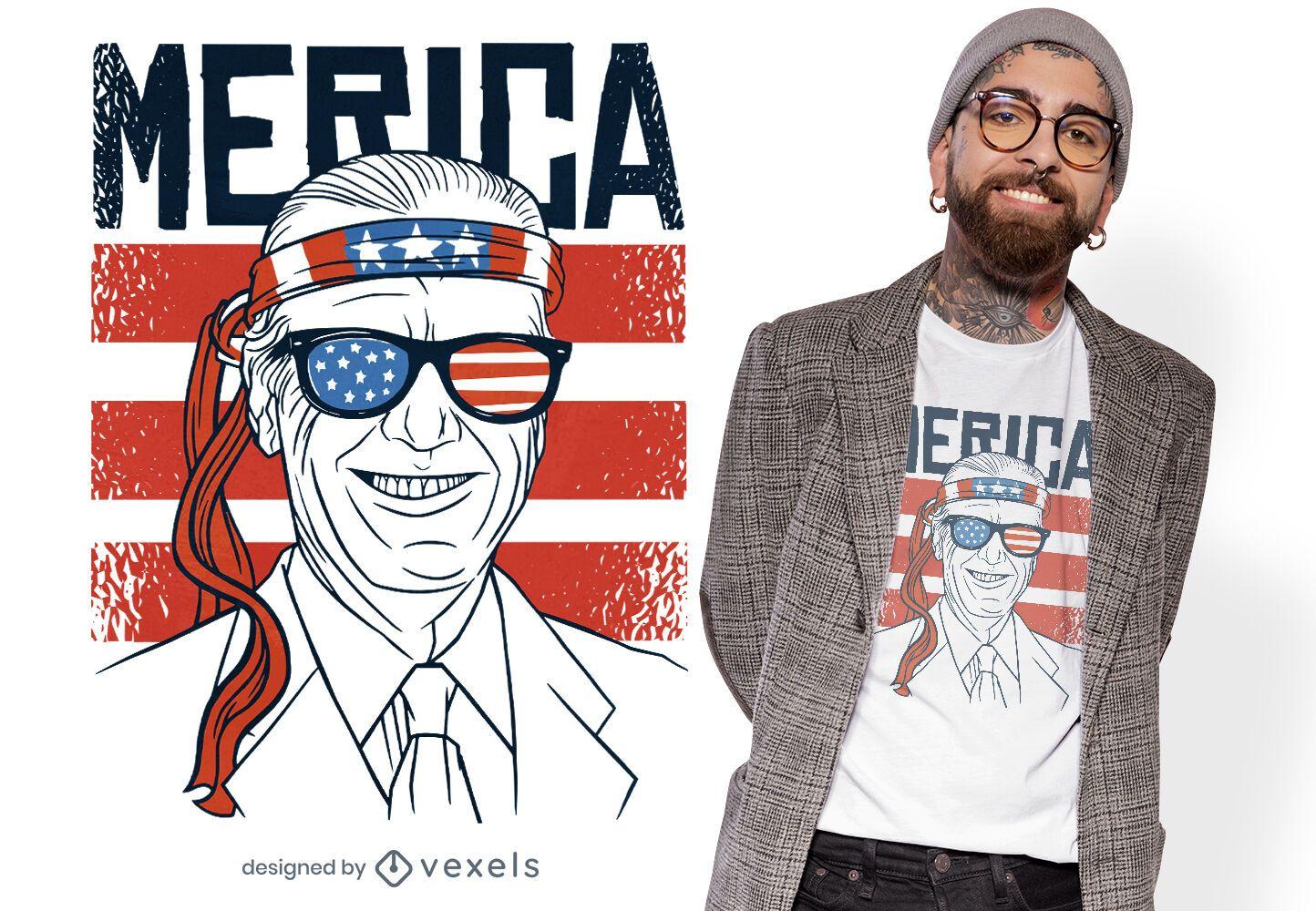Diseño de camiseta vintage de bandera americana biden