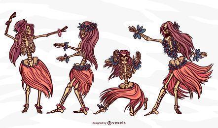 Conjunto de dançarina com esqueleto de hula hula