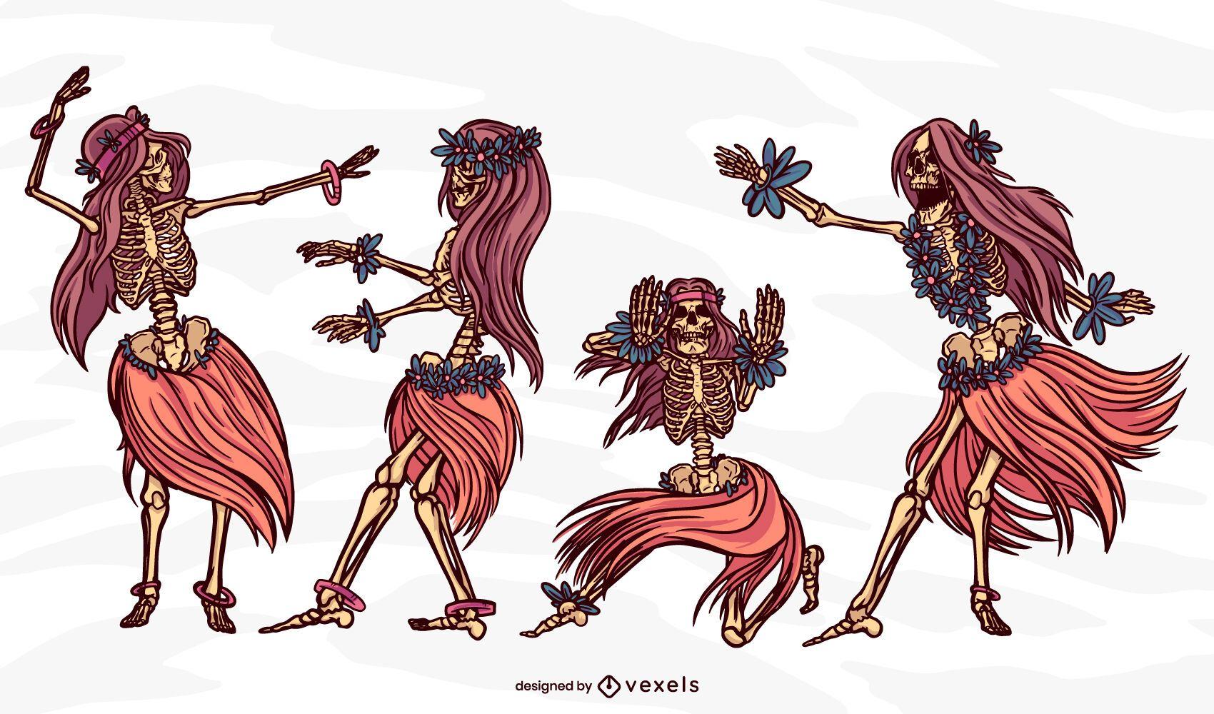 Hula hula skeleton dancing girl set