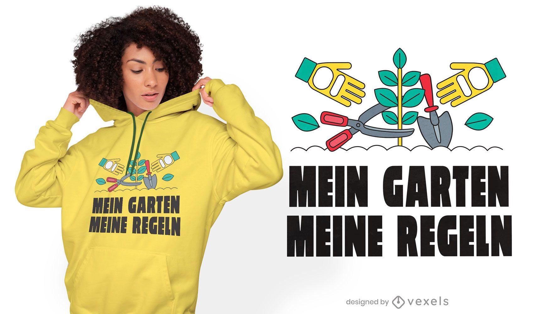 Diseño de camiseta de cita alemana de jardinería hobby