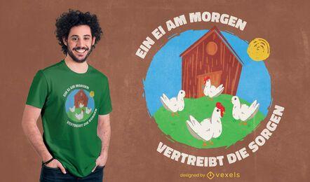 Pollos en diseño de camiseta de doodle de granja