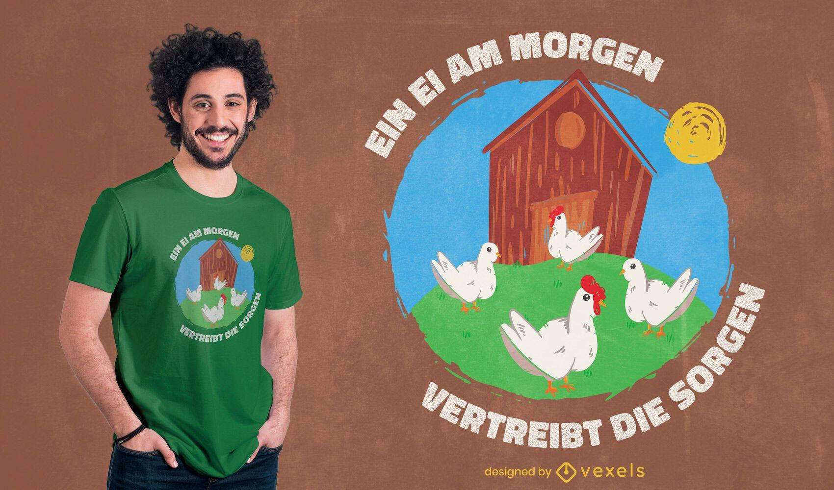 Projeto de t-shirt de doodle de galinhas na fazenda