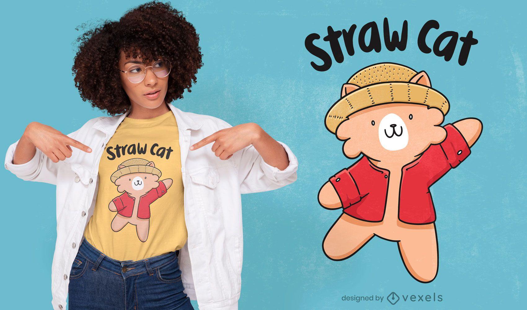 Cute cat in straw hat t-shirt design