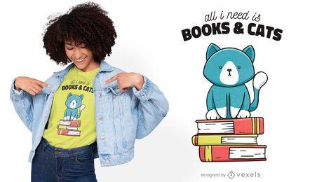 Diseño de camiseta linda de libros y gatos.