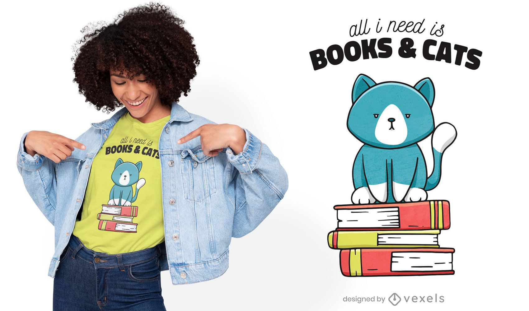 Dise?o de camiseta linda de libros y gatos.