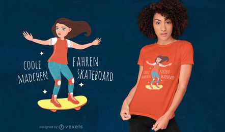 Diseño de camiseta de dibujos animados de niña patinadora