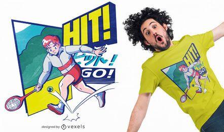 Diseño de camiseta de anime estético de los 80 de tenis.