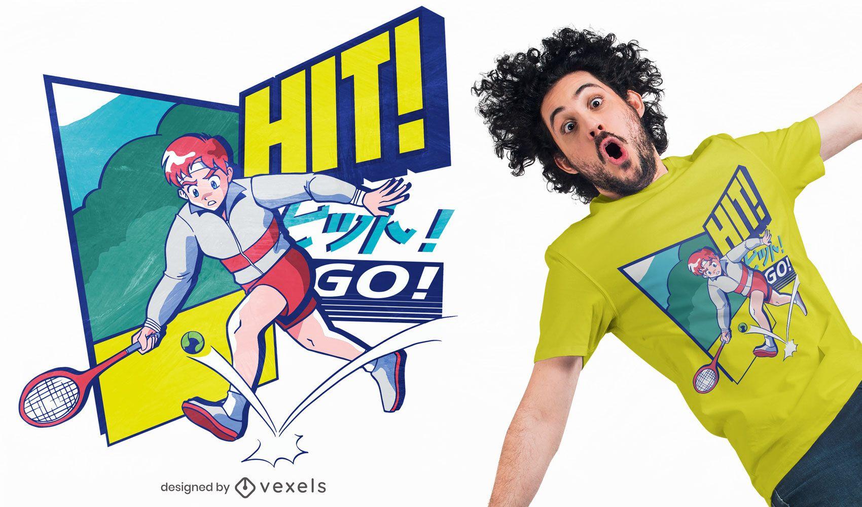 Tennis 80s aesthetic anime t-shirt design