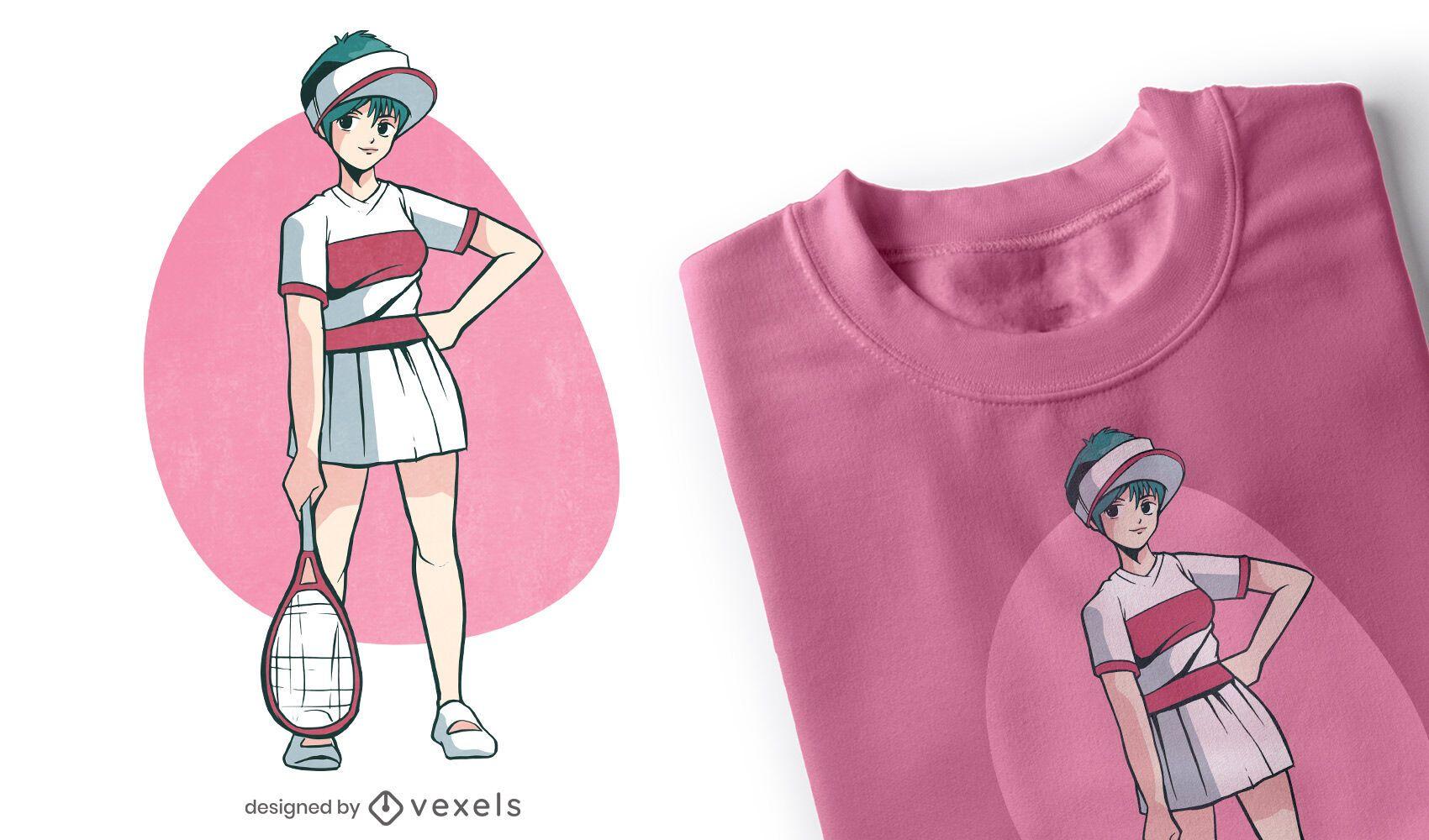 Anime tennis girl character t-shirt design
