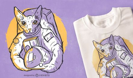 Diseño de camiseta dibujada a mano de gato astronauta.