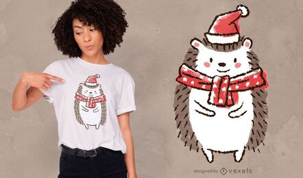 Cute christmas hedgehog t-shirt design