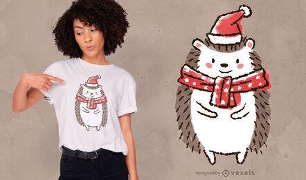 Design fofo de camiseta ouriço de natal