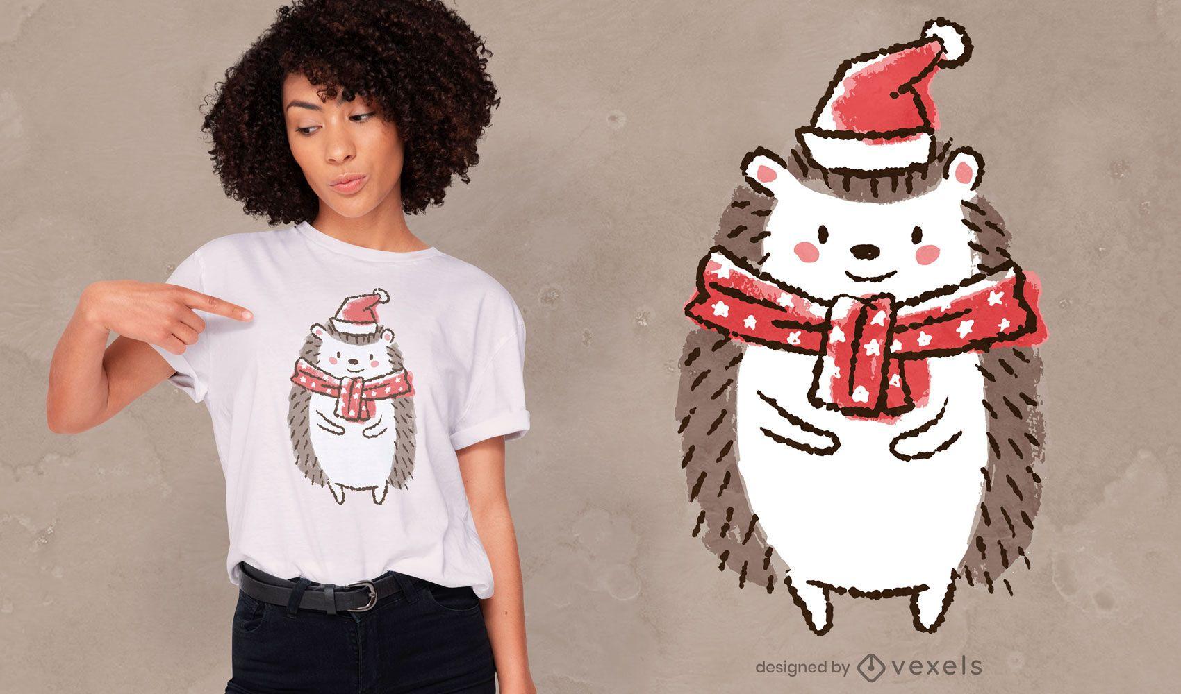 Cute christmas hedgehog t-shirt design