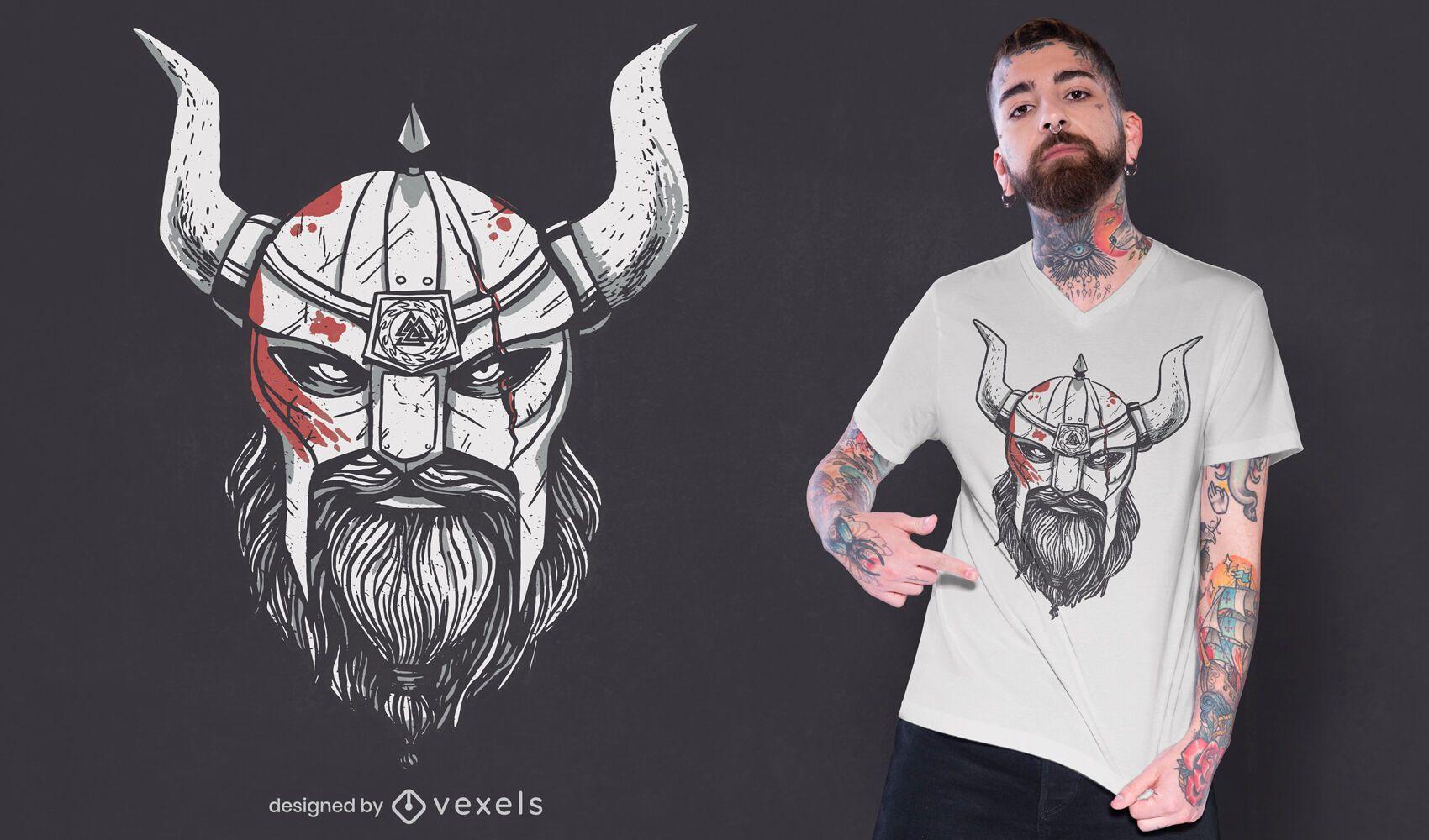 Diseño de camiseta de casco sangriento de cabeza vikinga.