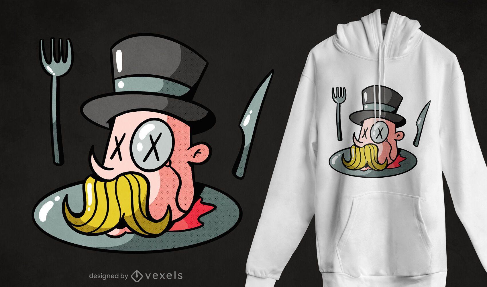 Coma o rico design de t-shirt de desenho animado