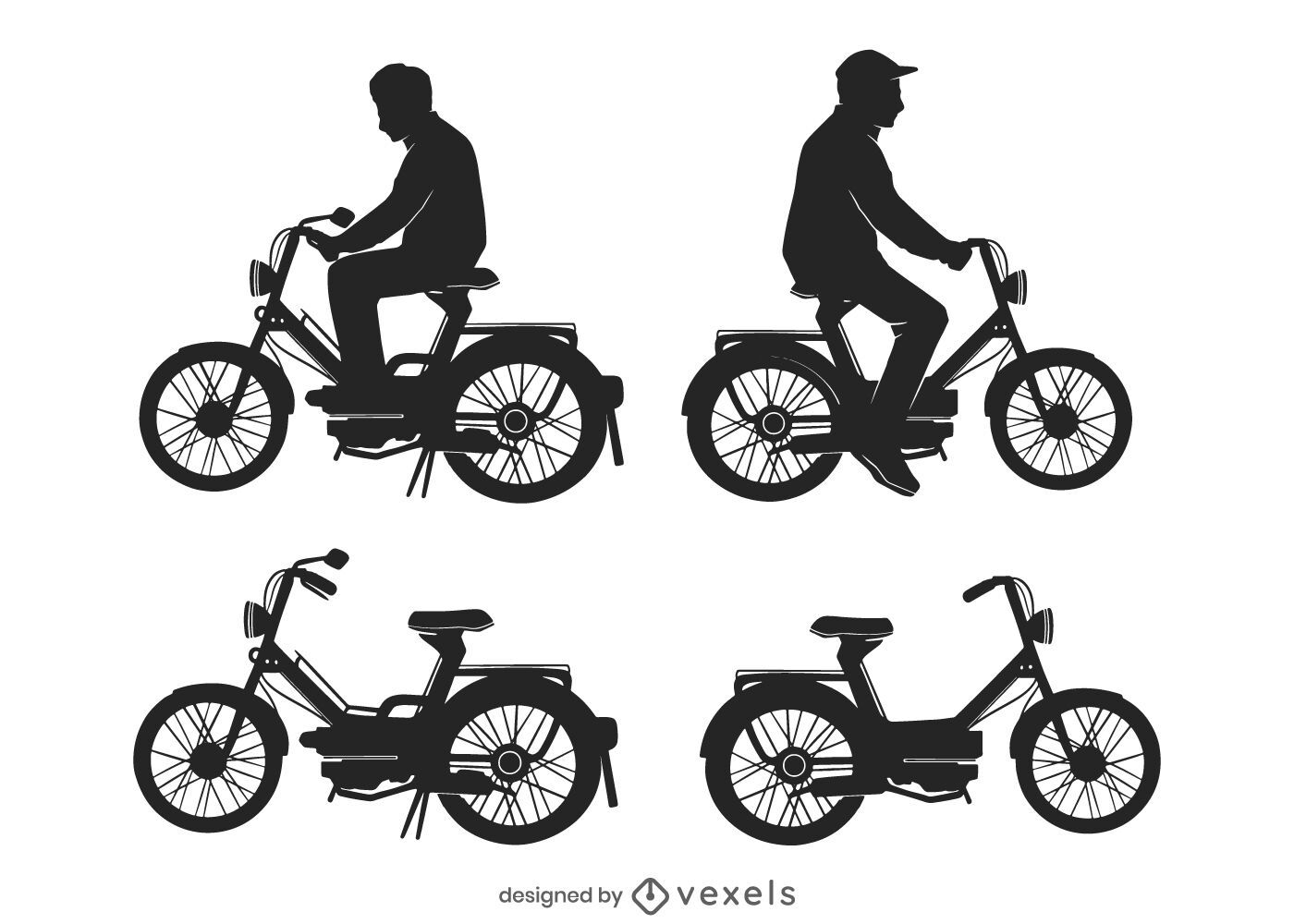 Mofa bicycle driving silhouette set