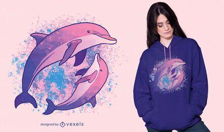 Diseño de camiseta de composición de acuarela de delfines.