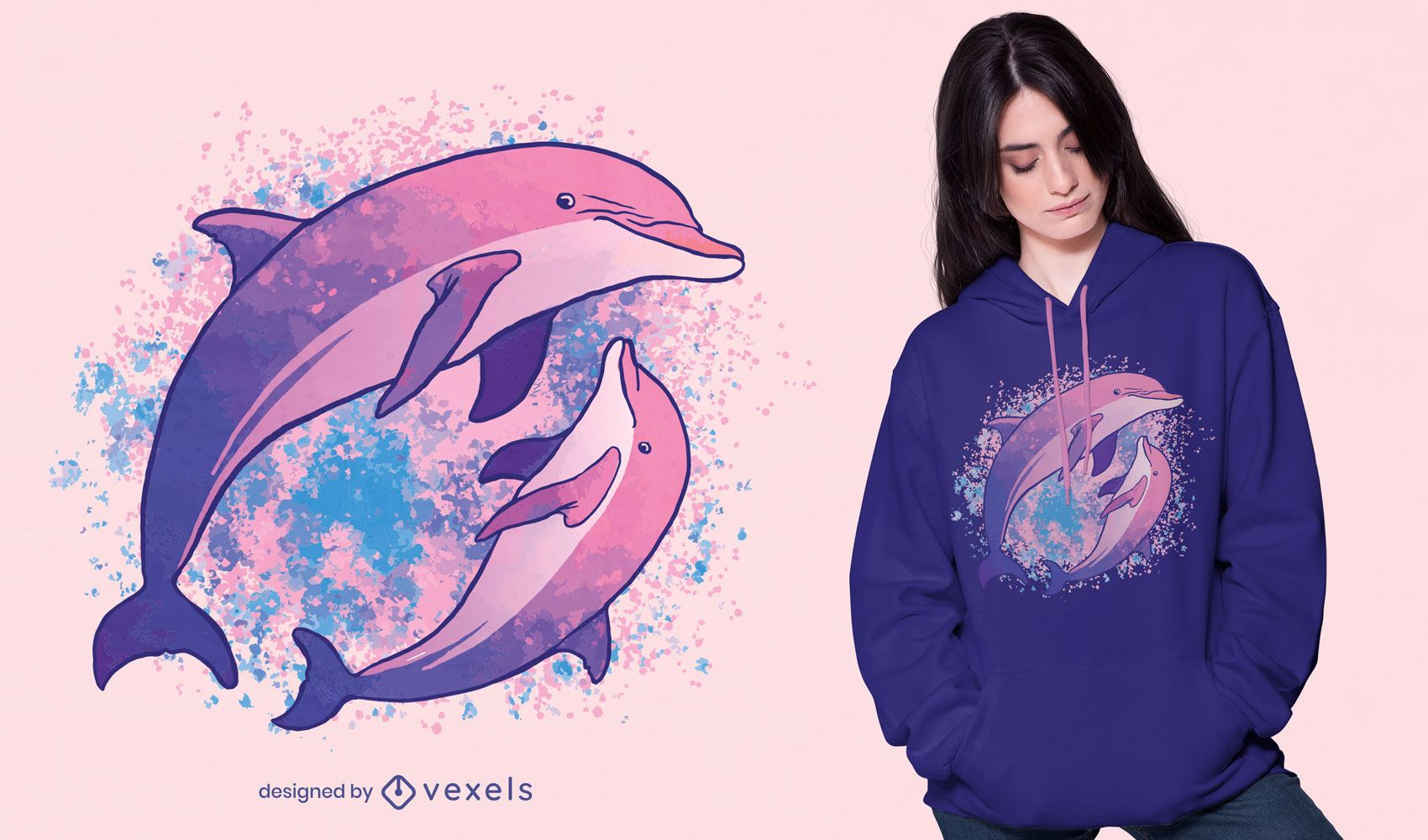 Dise?o de camiseta de composici?n de acuarela de delfines.