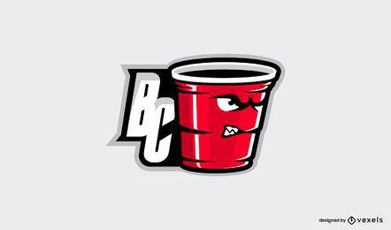 Diseño de logotipo de bebida de copa de fiesta roja