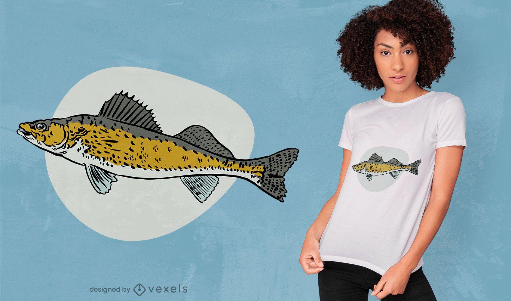 Diseño de camiseta de especies de peces leucomas.