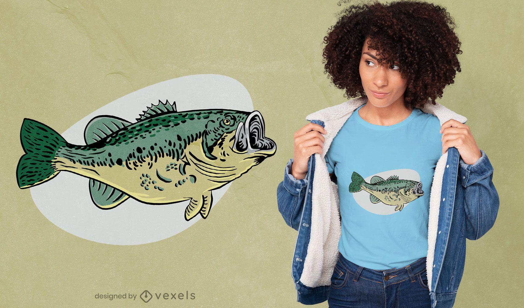 Design de t-shirt de animal marinho Bass Fish