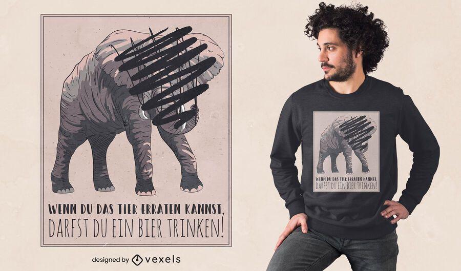 Elephant scratched off t-shirt design