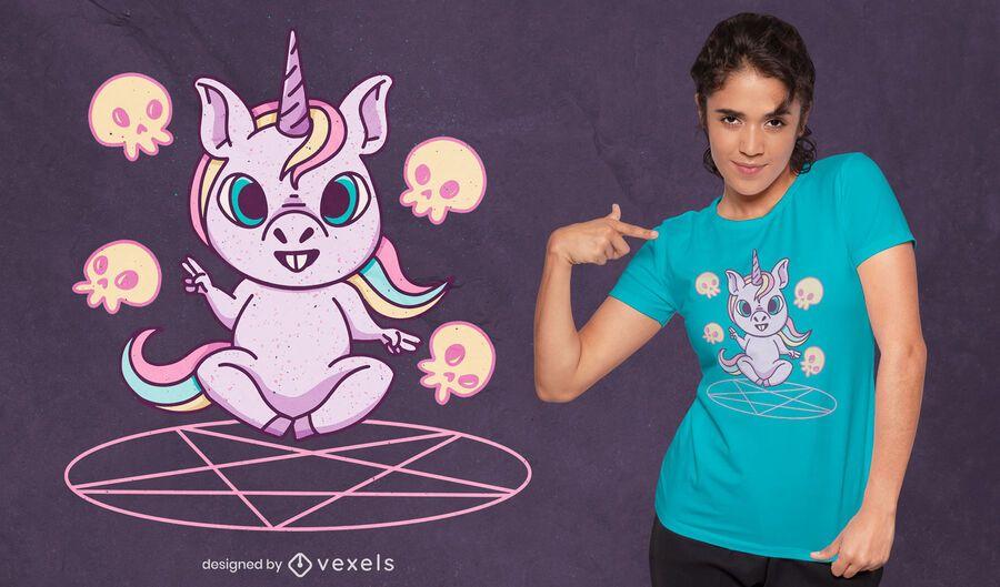 Diseño de camiseta ritual de invocación de unicornio.