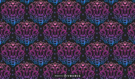 Desenho de padrão de gradiente de mandala animal