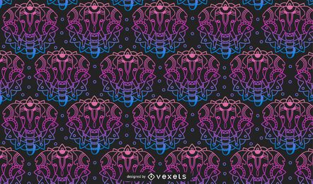 Diseño de patrón de degradado de mandala animal