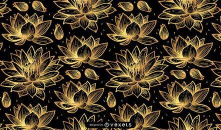 Desenho de padrão de flor de lótus dourado
