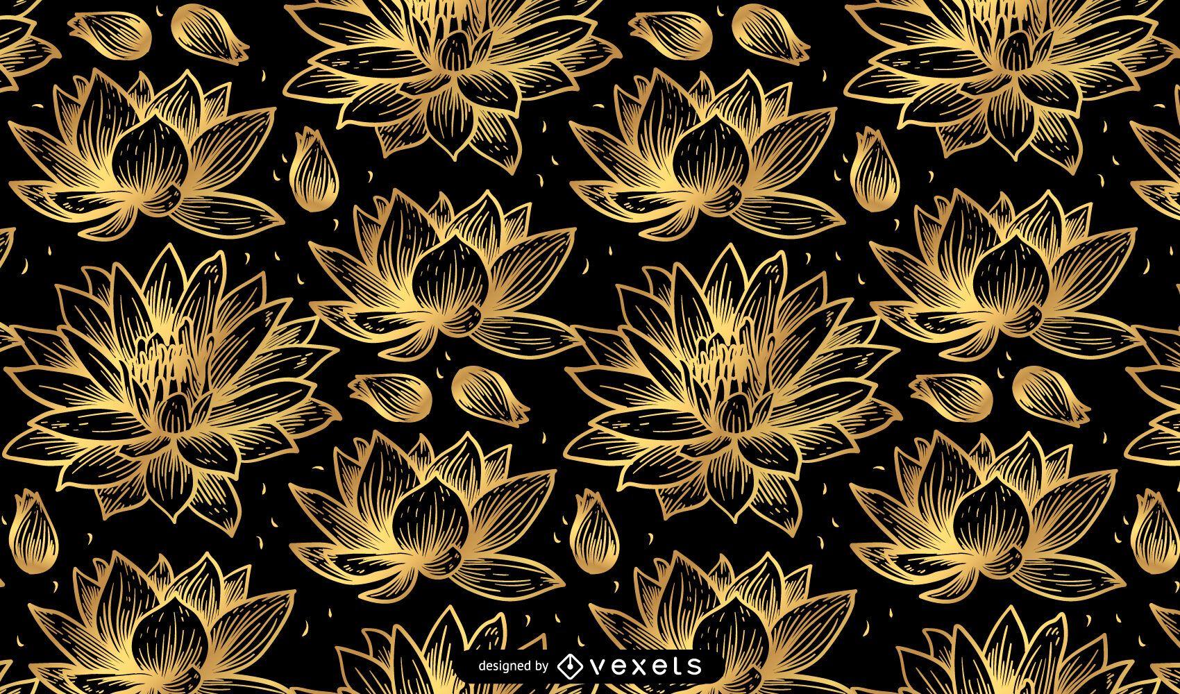 Golden lotus flower pattern design