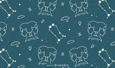 Diseño de patrón de horóscopo de signo de Géminis
