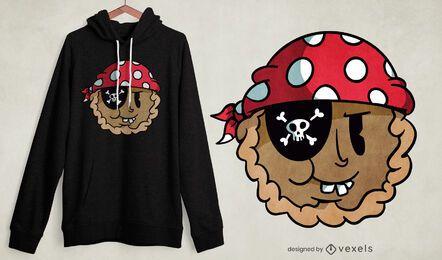 Diseño de camiseta pirata de dibujos animados de pastel