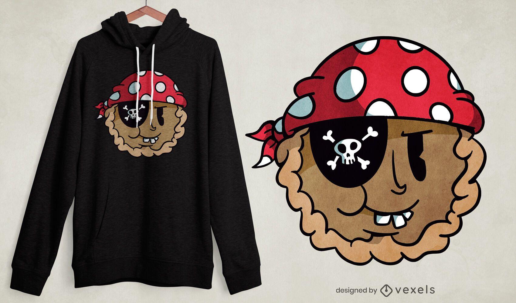 Pie cartoon pirate t-shirt design
