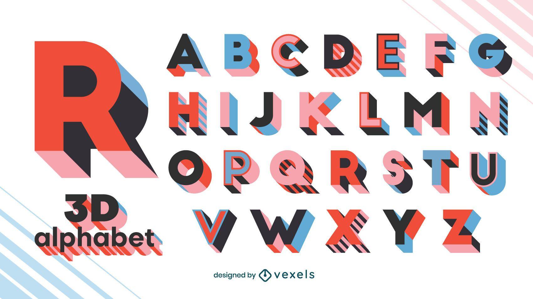 Alphabet letters 3D geometric set
