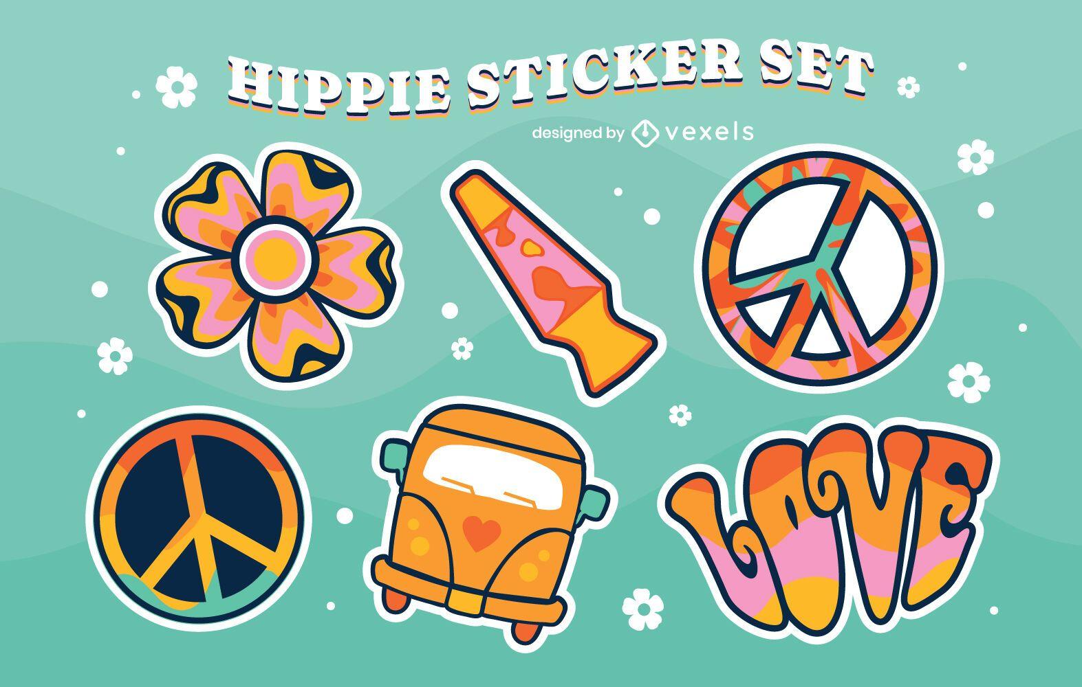 Conjunto de pegatinas de colores vintage hippie